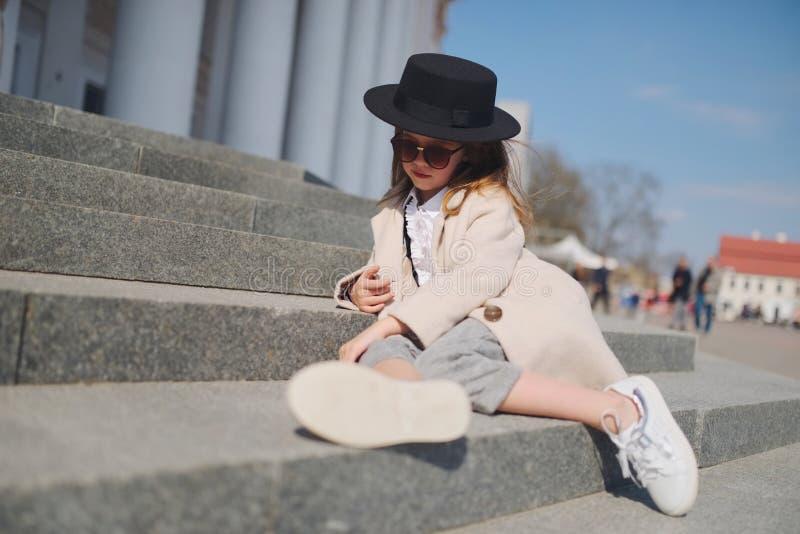 Little girl portrait on the street stock photography