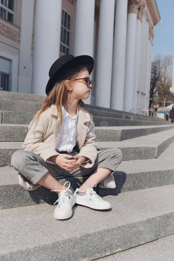 Little girl portrait on the street stock photos