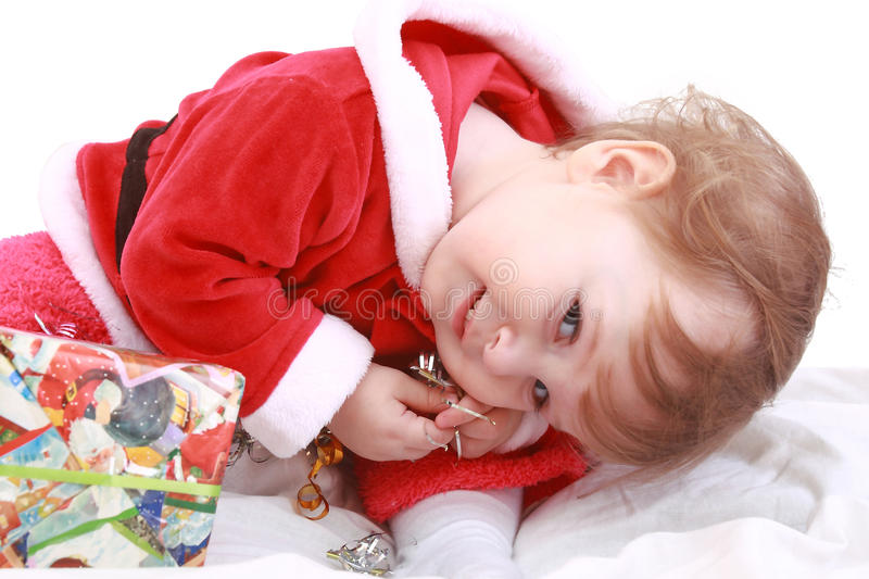 Little Happy Girl In Red Santa S Clothes Royalty Free Stock Photography