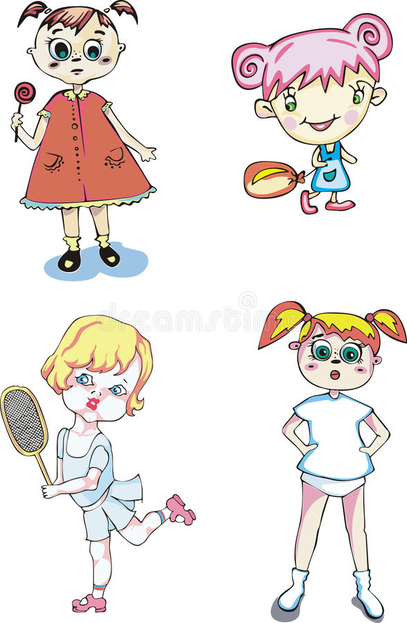 Download Little happy girls stock vector. Image of happy, little - 25350908