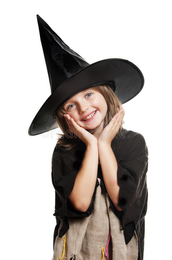 Little happy hallowen witch. Isolated on white royalty free stock images