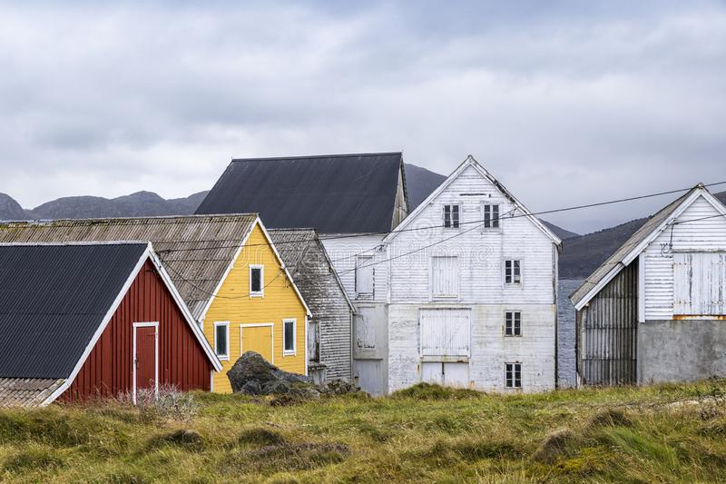 Little harbour in the village Runde, Norway stock photography