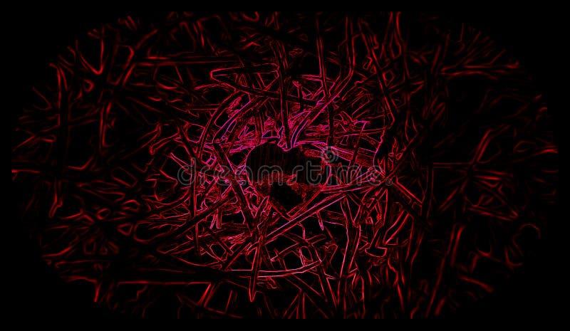 Little heart Black and red background. Illustrations. vector illustration