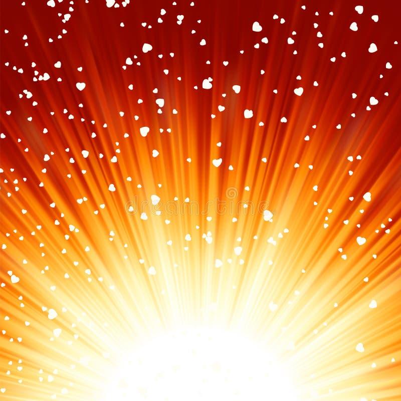 Little hearts floating on rays of light. EPS 8 vector illustration
