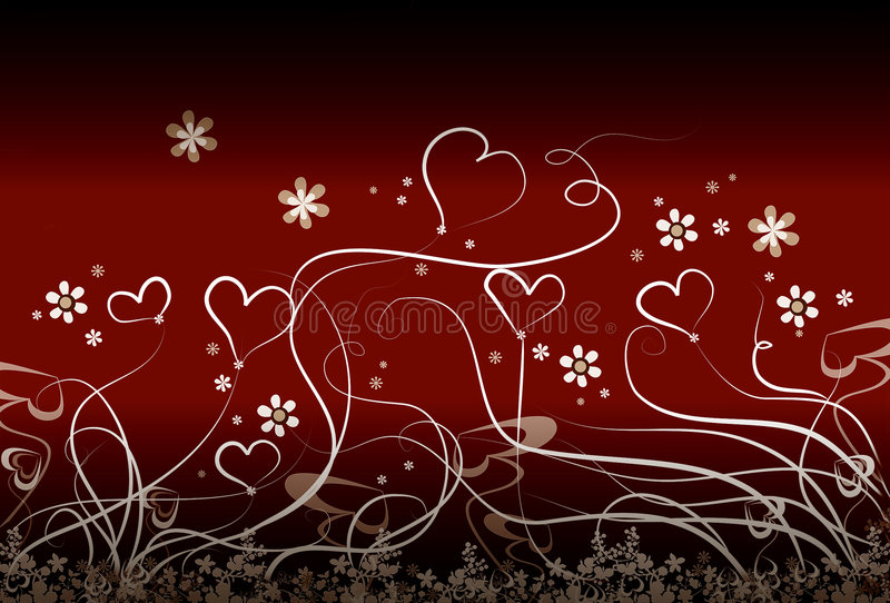 Little hearts and flowers. Abstract floral background stock illustration