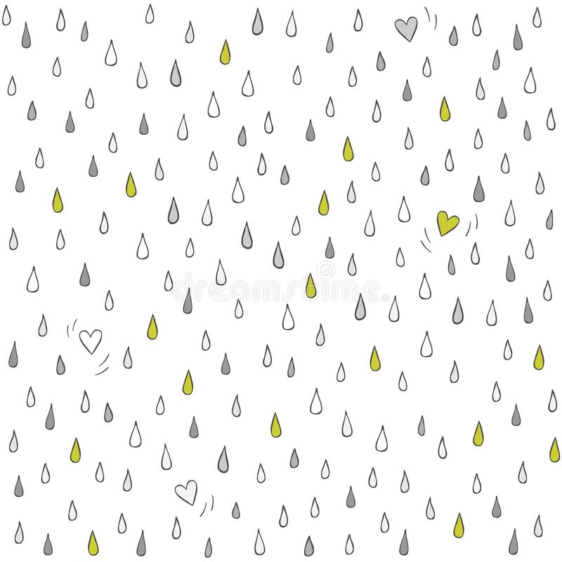 Little hearts lost in the rain on white stock illustration
