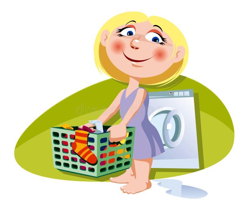 Little helper. A little girl with clothes-basket. Vector illustration royalty free illustration