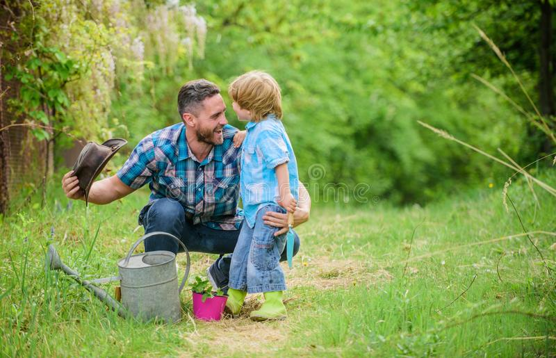 Little helper in garden. Planting flowers. Growing plants. Fresh seedlings. Take care of plants. Boy and father in stock photos