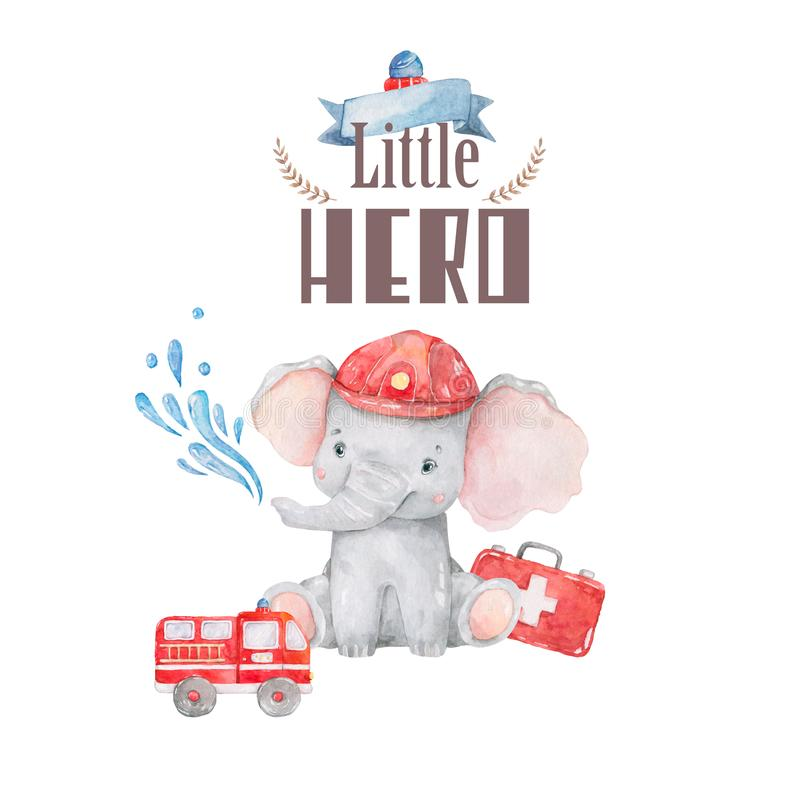 Little Hero welcome baby card. Watercolor cute cartoon illustration, colorful elephant on white background. Birthday and invite vector illustration