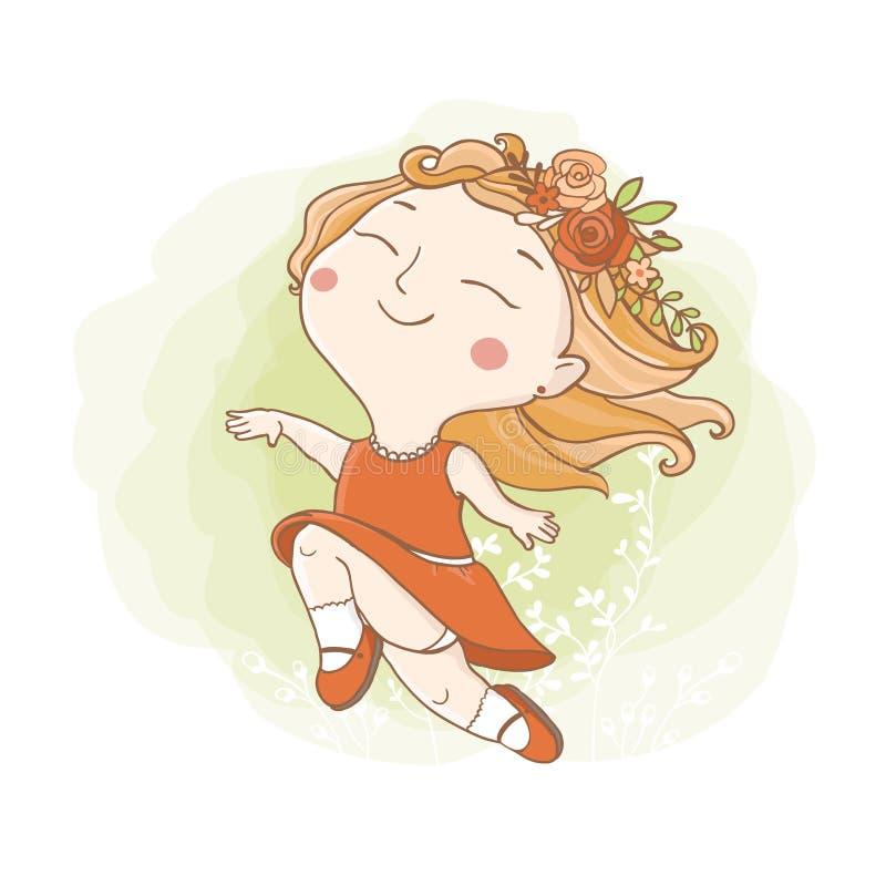 Little hippie girl. stock illustration
