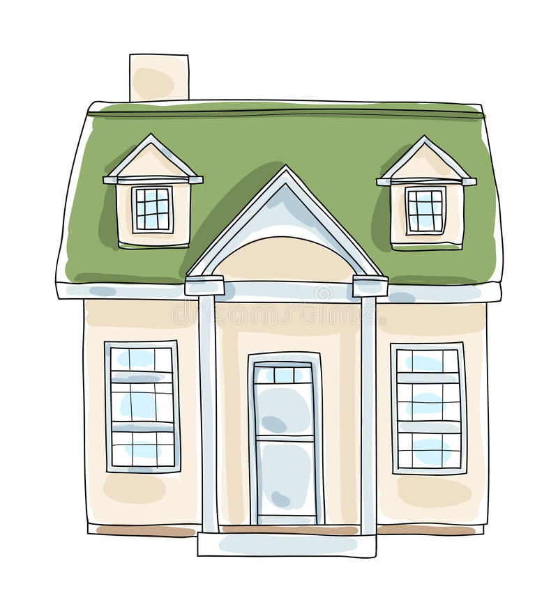 Little home tiny house cottage vintage hand drawn vector art il stock illustration