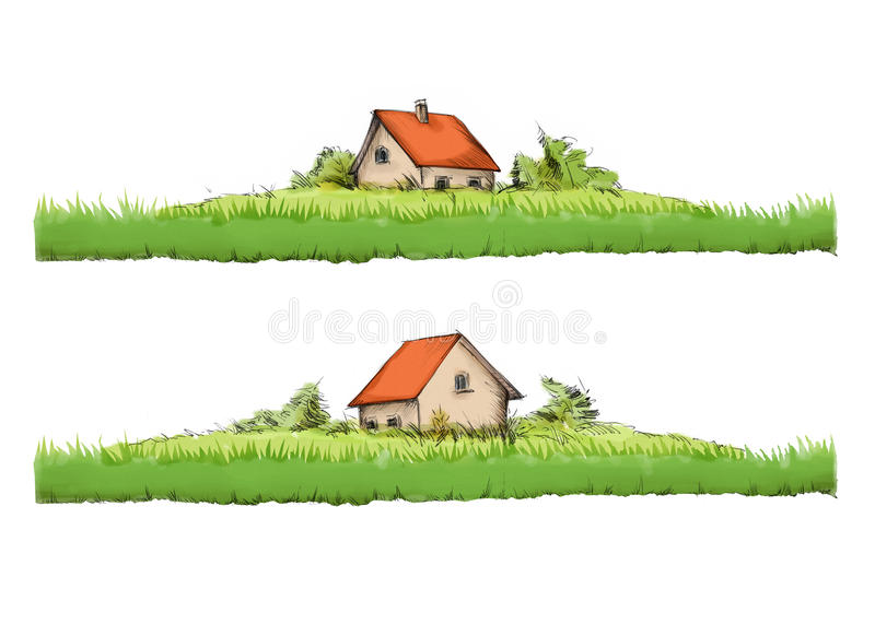 Little house behind a bedraggled garden stock illustration