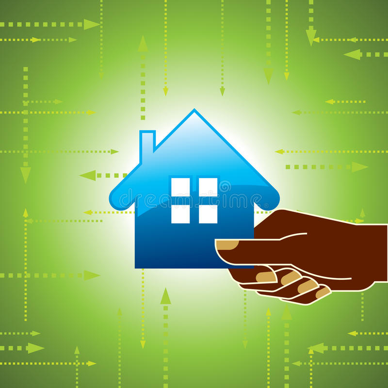 Little House on the hands. Symbol of a successful real estate business royalty free illustration