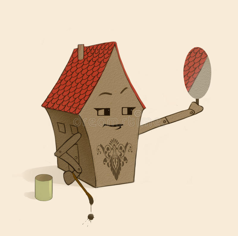 Little house / home character, delighted to see his new architectonic decoration in the mirror royalty free illustration