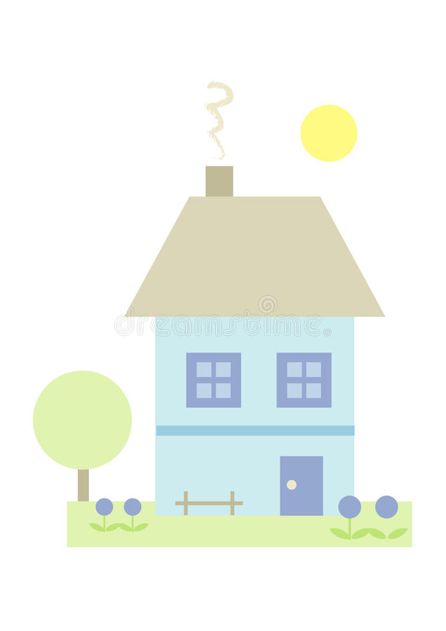 Little House (II). Pastel-colored illustration of a little house with garden royalty free illustration