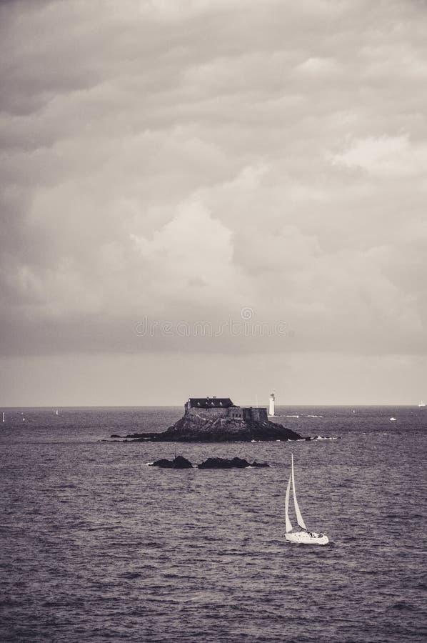 Little House on Little Island in Bretagne stock photos