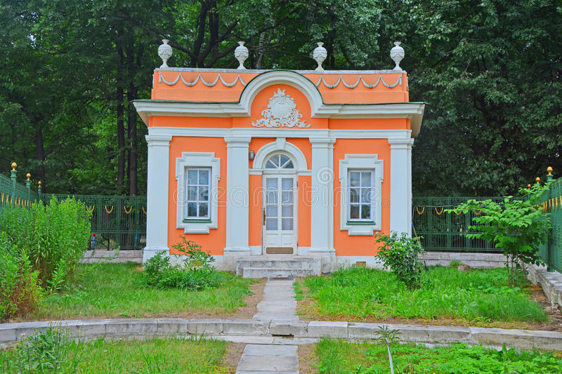 Little house of The Menagerie in Kuskovo estate in Moscow. In Kuskovo estate - architectural and art ensemble of the 18th century in Moscow city, Russia stock images