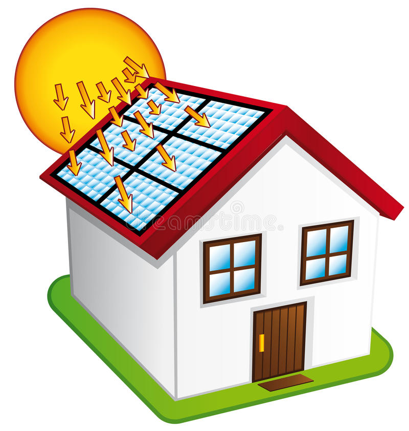 little house with solar panels stock vector illustration of green rh dreamstime com