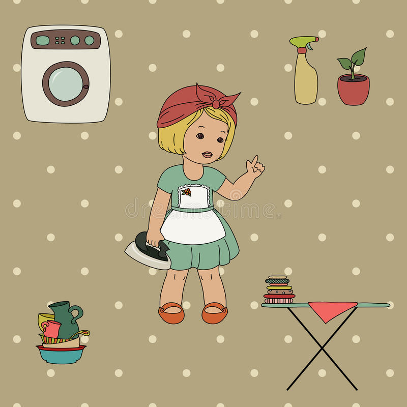 Download Little housewife stock vector. Image of dishes, washing - 32828522