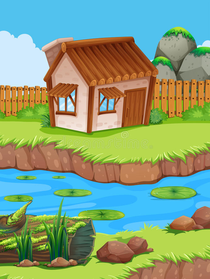 Little hut by the river stock illustration