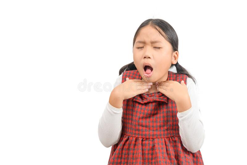 Little ill asian girl with sore throat isolated royalty free stock image