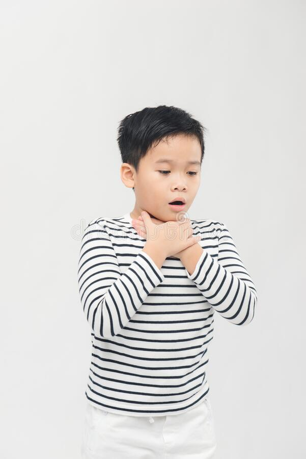 Free Little Ill Boy Get Sore Throat Or Choking Can`t Breath With Unhappy. Allergy Concept Royalty Free Stock Photo - 184703825