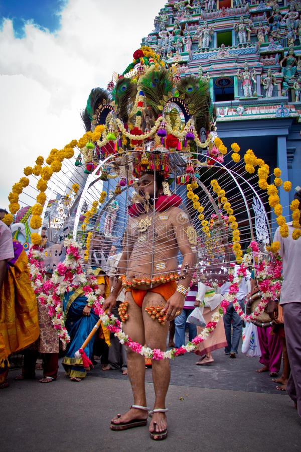 Little India - Singapore, 7 February 2012: A Devotee in Thaipusam Festival royalty free stock photography