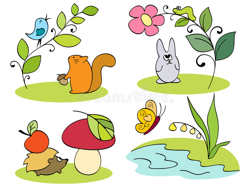 Little inhabitants of the forest. Vector royalty free illustration