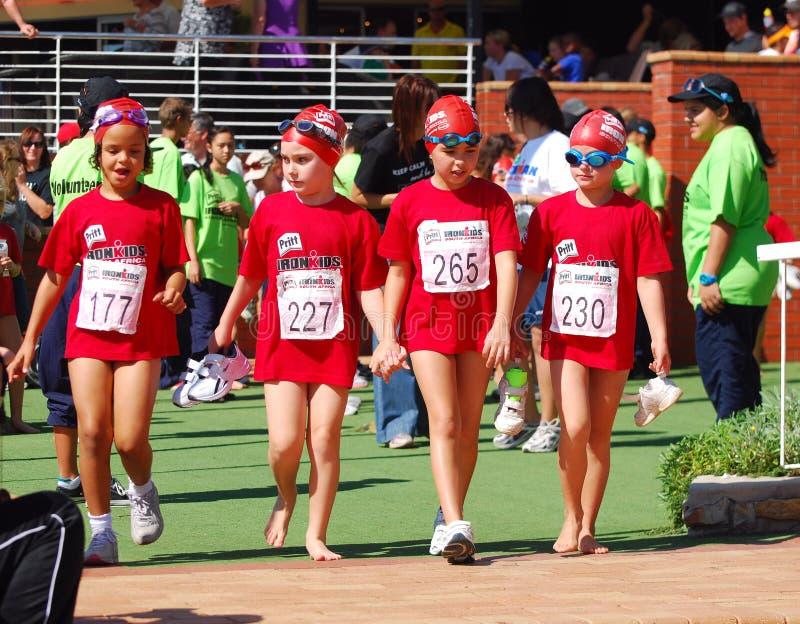 Little Ironkids athletes royalty free stock photos