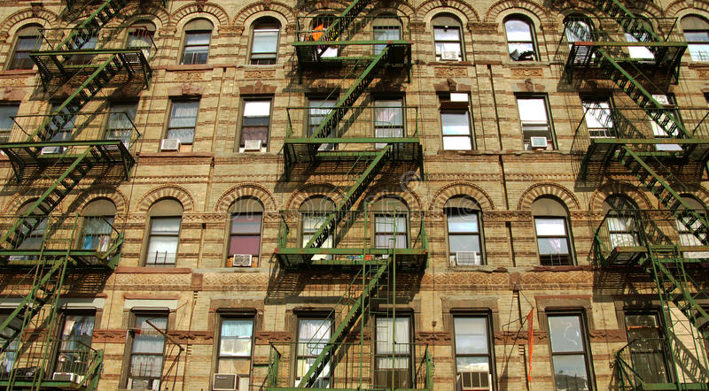 Little Italy District House in New York. Fire escape ladders in Little Italy district in New York City stock photos