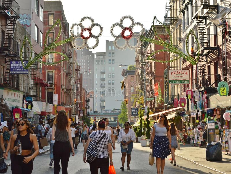 Little Italy Busy Main Street New York City Chinatown Shopping People Walking. Little Italy Busy Main Street New York City Chinatown Shopping Tourism Attraction royalty free stock image