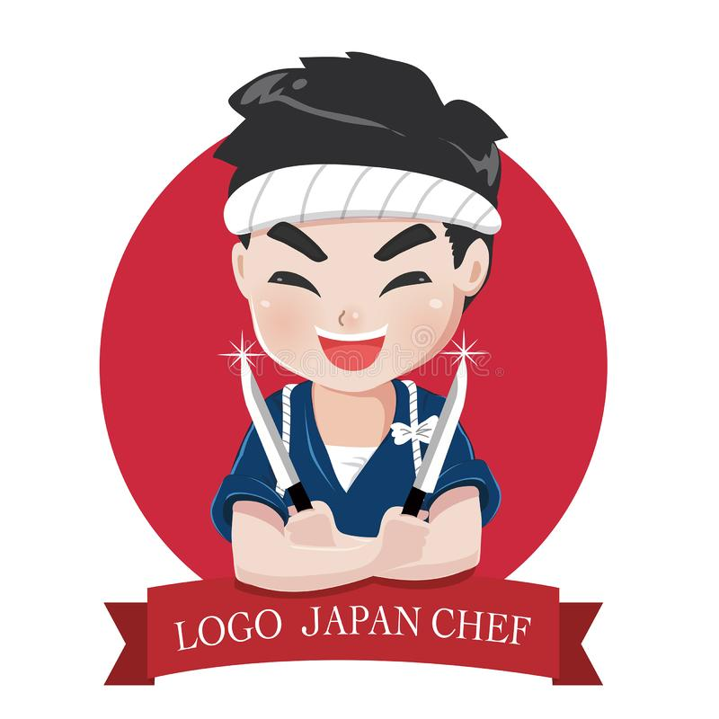 Logo chef japan with knife and smile. The little japan boy chef`s logo is happy,tasty and confident smile vector illustration