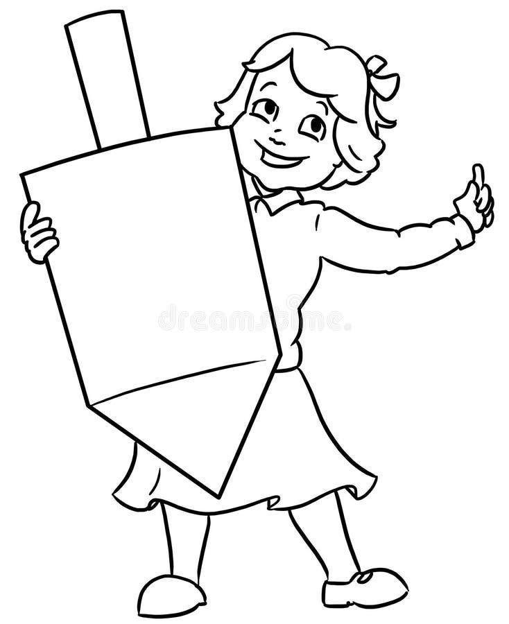 Little jewixh girl holding large channuka dreidel. Little jewish boy holding an large chanuka dreidel vector illustration
