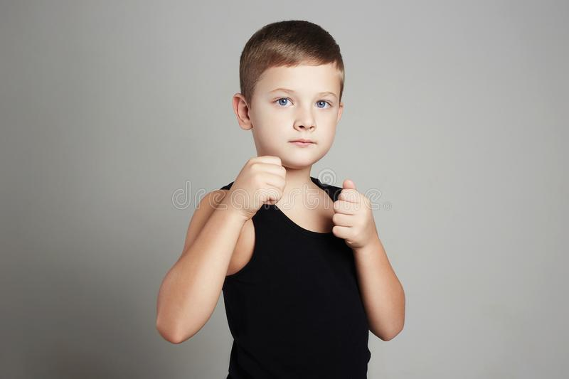 Little karate boy.boxing child royalty free stock photos