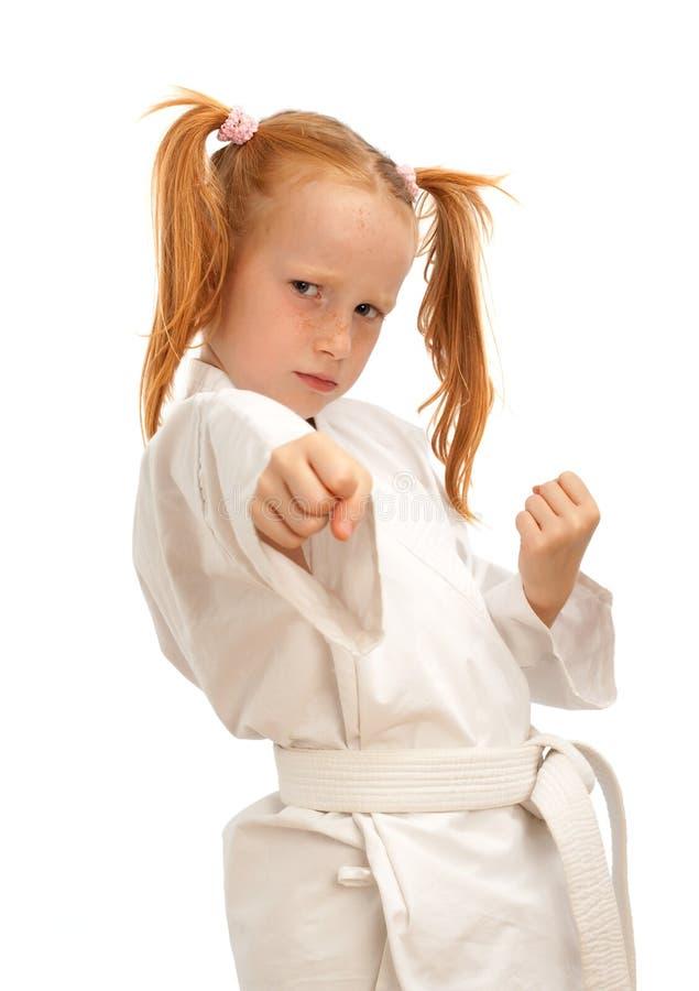 Little karate girl stock image