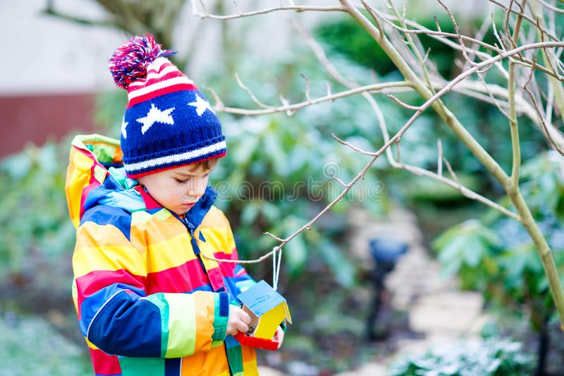 Little kid boy hanging bird house on tree for feeding in winter. Little kid boy feeding birds in winter. Cute happy preschool child hanging colorful selfmade stock images