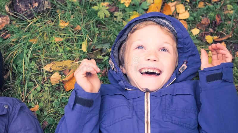 Little kid boy lying in autumn leaves in blue jacket. Happy child having fun in autumn park on warm day. Cute school boy. Little kid boy lying in autumn leaves royalty free stock photo