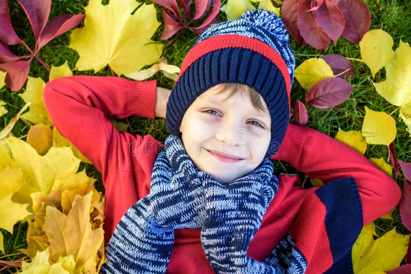 Little kid boy lying in autumn leaves in red pullover. Happy child having fun in autumn park on warm day. Cute school boy smiling stock image