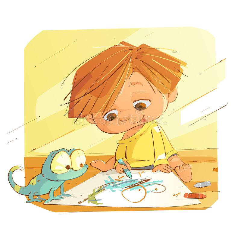 Little Kid Is Drawing vector illustration