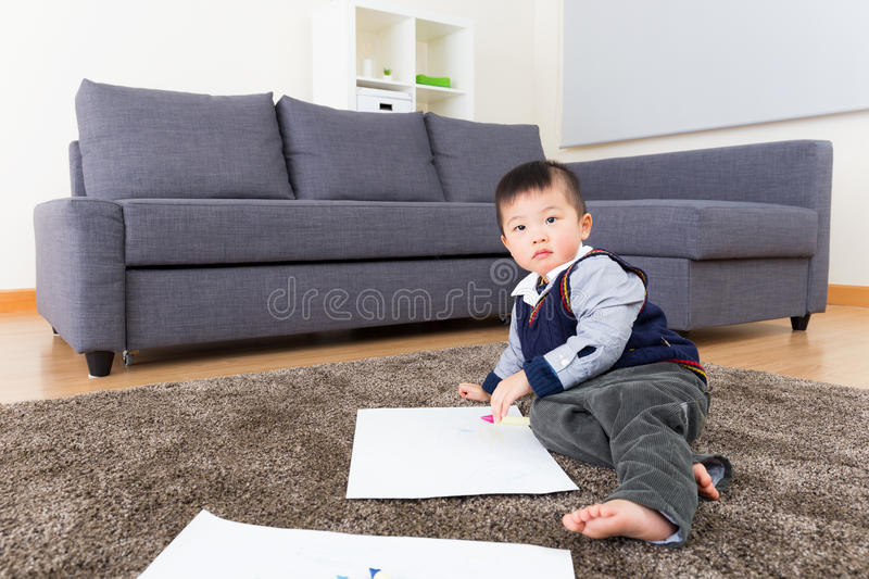 Little kid drawing royalty free stock images