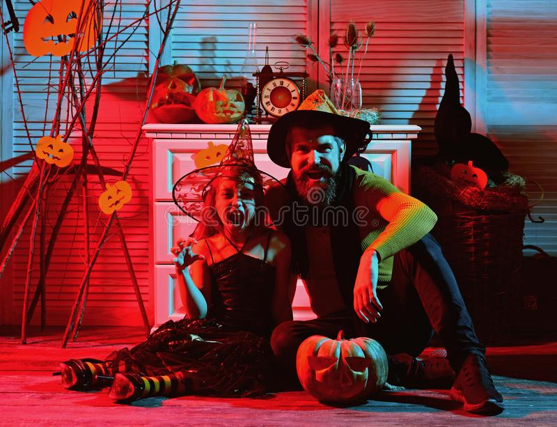 Little kid and father with carved pumpkin on halloween. Little kid and father have fun on halloween party. Daddys little. Pumpkin. Home of the handsome demon stock images