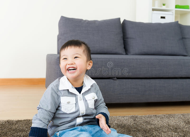 Little kid feel so happy stock images