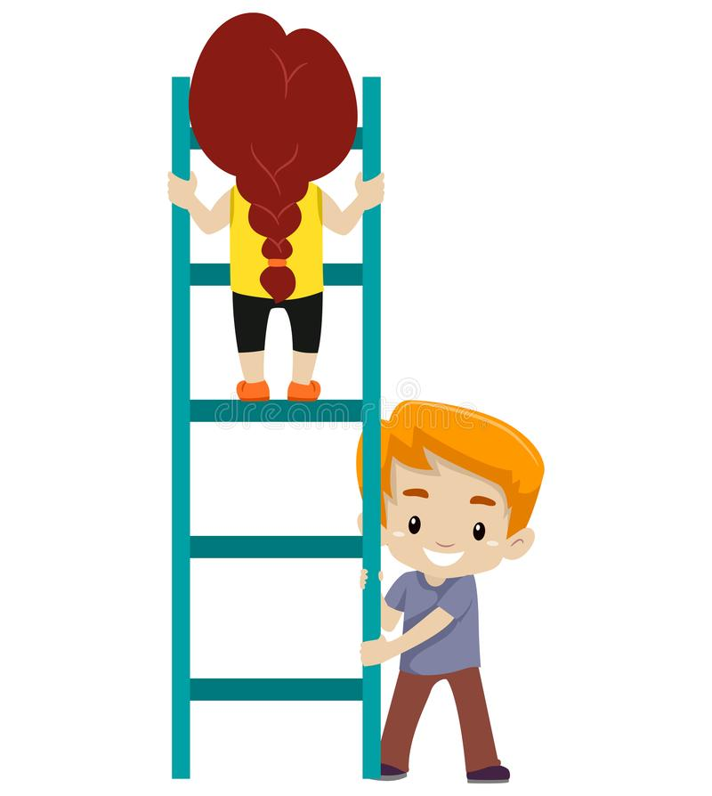Free Little Kid Helping Each Other To Climb Up The Ladder Stock Images - 116380174