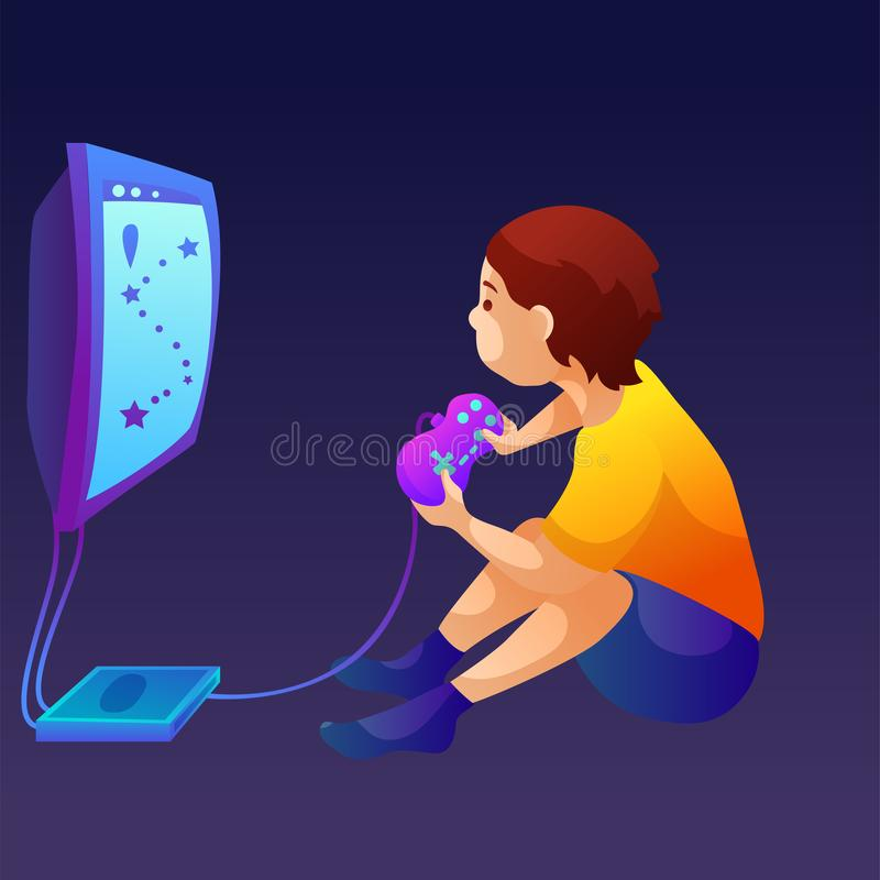 Little kid play computer games vector illustration royalty free illustration