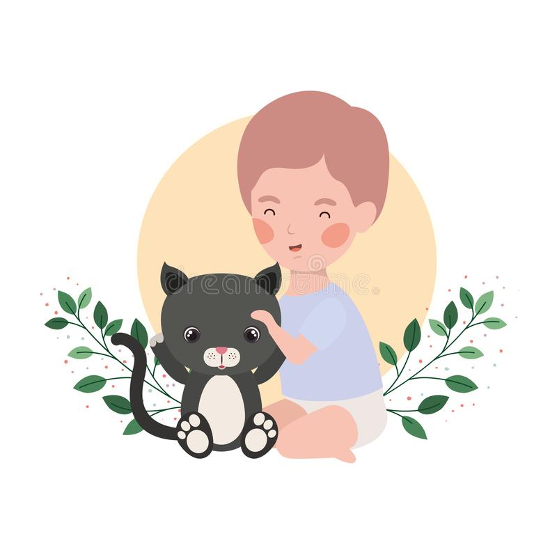 Little kid playing with lovely kitten and branch and leaves of background. Vector illustration design royalty free illustration