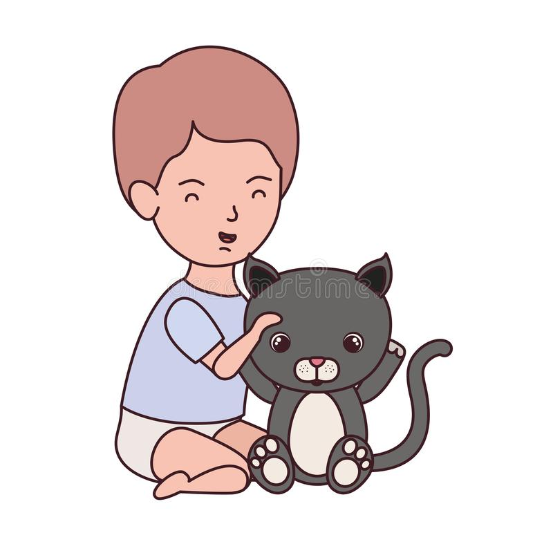Little kid playing with lovely kitten. Vector illustration design vector illustration