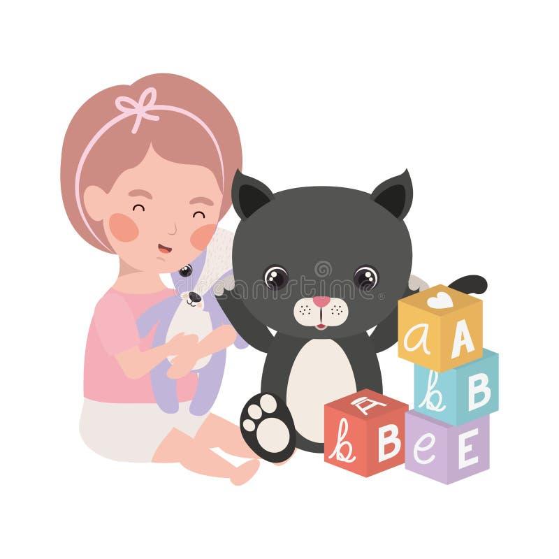 Little kid playing with lovely kitten. Vector illustration design stock illustration