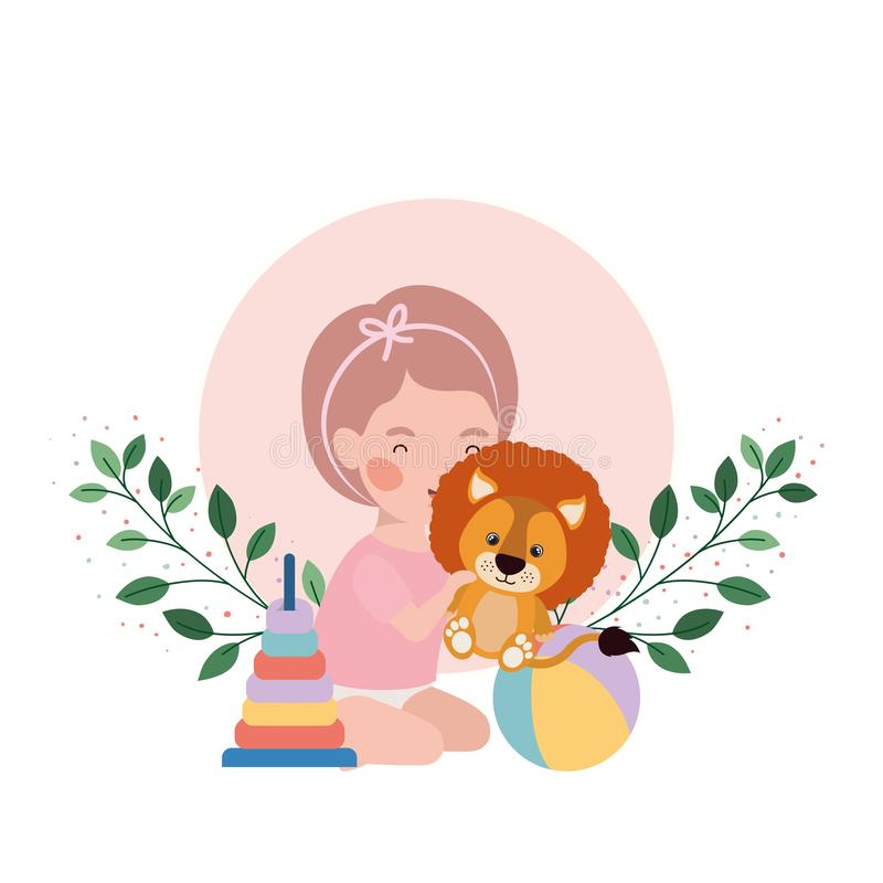 Little kid playing with lovely lion and branch and leaves of background. Vector illustration design vector illustration
