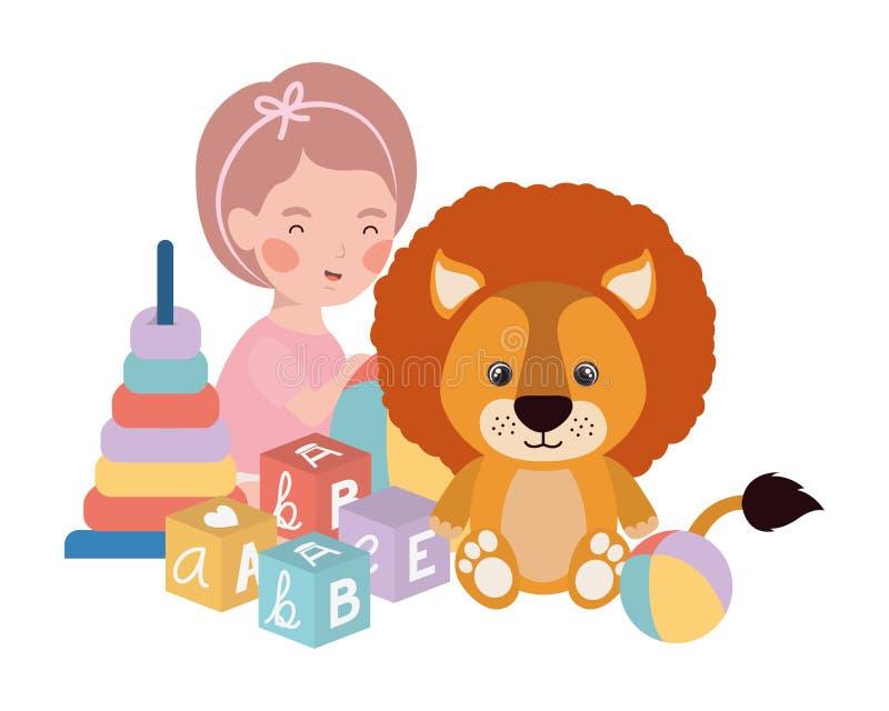 Little kid playing with lovely lion. Vector illustration design stock illustration
