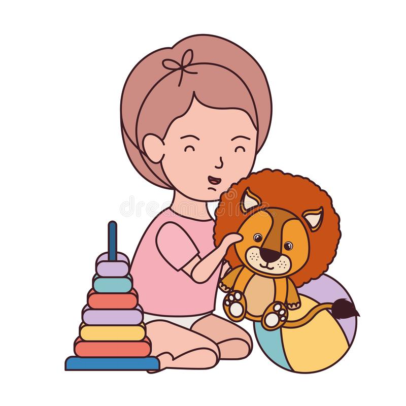 Little kid playing with lovely lion. Vector illustration design royalty free illustration